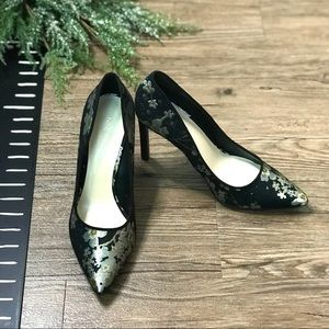Nine West Metallic Floral Black Tatiana Pumps